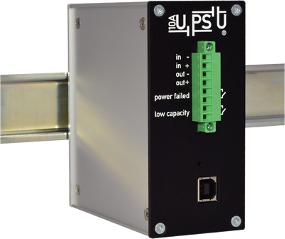 10A UPSU DIN - 12V or 24V Ultracapacitor or Battery UPS for DIN-Rail Mounting